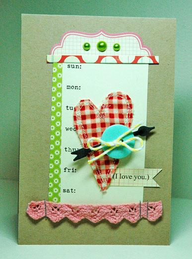 Fabric Emb Heart Card