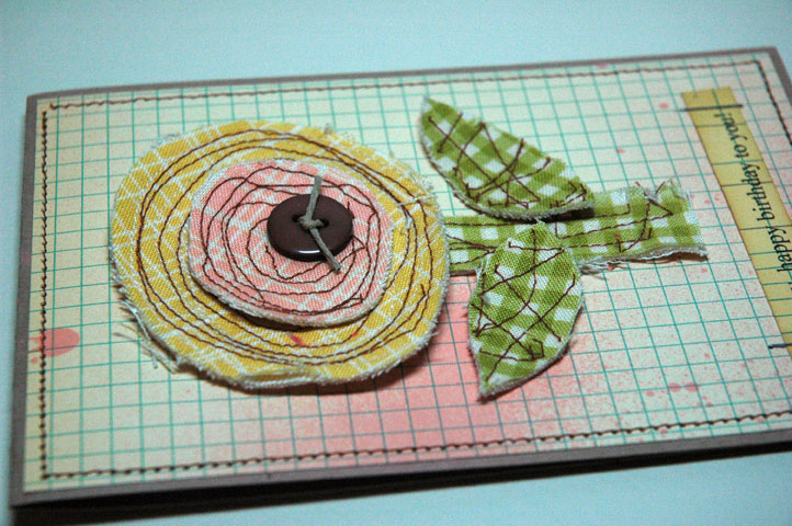 Fabric Emb Birthday Card Detail