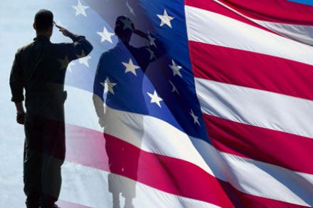 Flag w soldiers salute