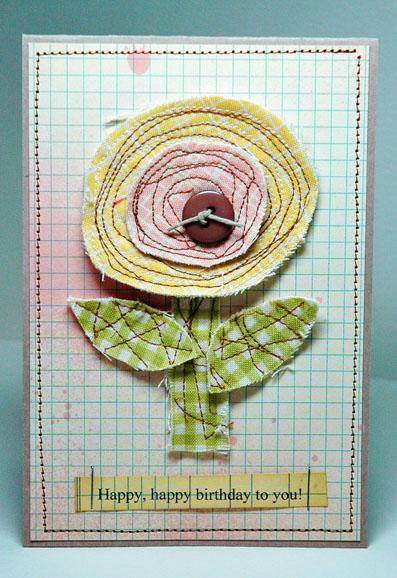 Fabric Emb Birthday Card