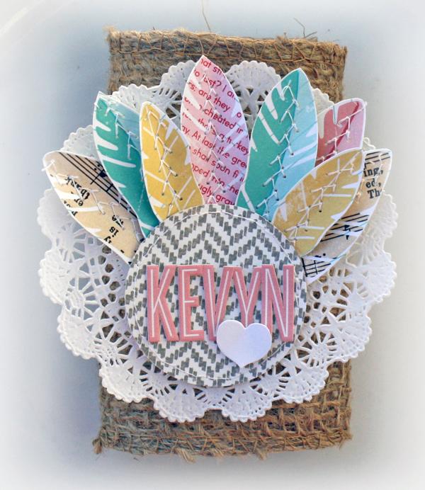 Thanksgiving turkey placecard silverware wrap