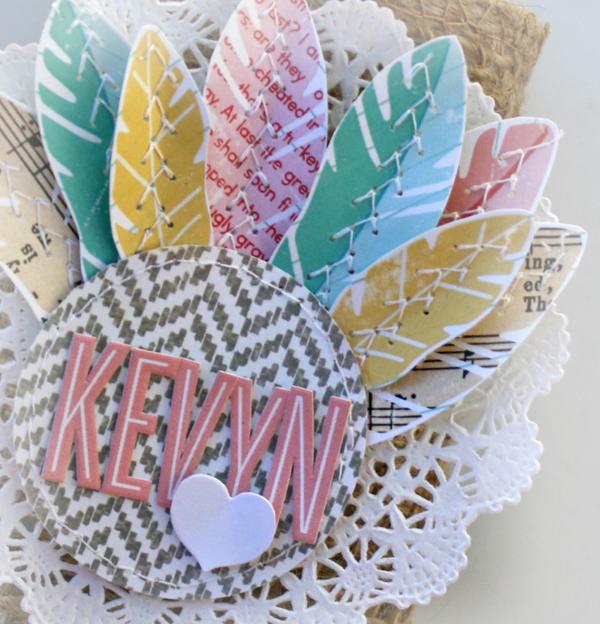 Thanksgiving turkey placecard silverware wrap details